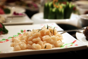 River prawns cooked with spent Longjing tea, a Hangzhou specialty