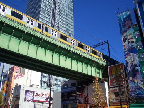 Sobu Main Line crossing above Chuo Dori, heading out from Akihabara Station