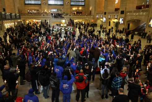 Christmas morning memorial for Mama Doe, at Grand Central Terminal